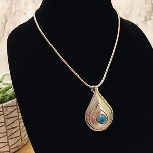 Tear Drop Pendant Faux Turquoise Center